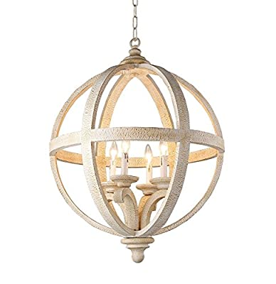 "Decomust 24"" Rustic Vintage Pendant Orb Chandelier Light Wood Wooden Frame Iron Band Sphere Globe Ceiling Light Fixture 4 Lamps"