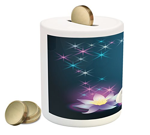 Ambesonne Swan Piggy Bank, Magic Lily and Fairy Swan at Night Swimming in Lake Under Moon and Stars Picture Art, Printed Ceramic Coin Bank Money Box for Cash Saving, Blue White
