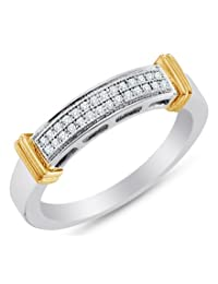 10K White and Yellow Two 2 Tone Gold Ladies Womens Micro Pave Set Two Rows Round Cut Diamond Wedding Band OR Anniversary Ring (.08 cttw.)