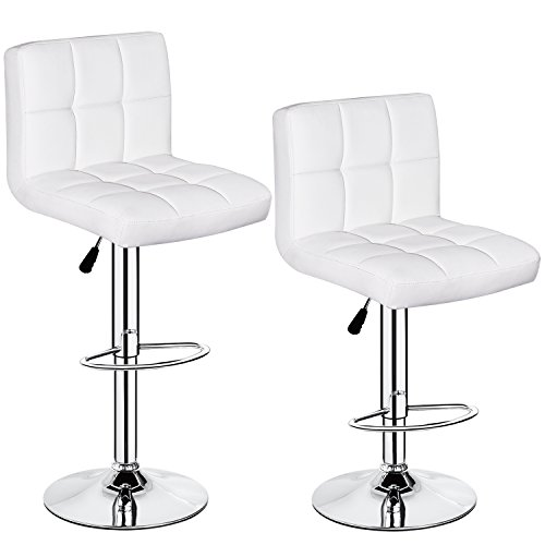 HEALTH LINE MASSAGE PRODUCTS Set of 2 PU Leather Hydraulic Swivel Gas Lift Bar Stools 350 lbs Capacity Height Adjustable White