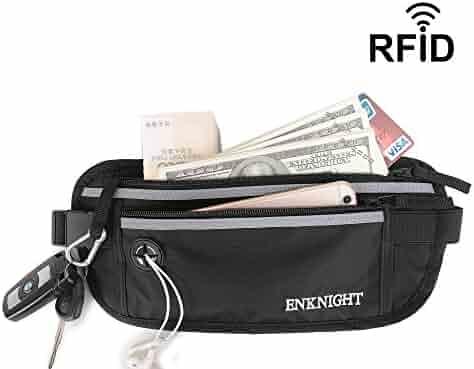 ENKNIGHT Big RFID Money Belt for Travel Running Waist Pack Fanny Pack