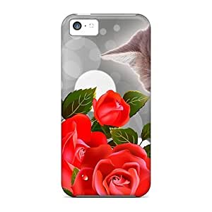 Durable Kitty Red Roses Back Case For HTC One M8 Cover