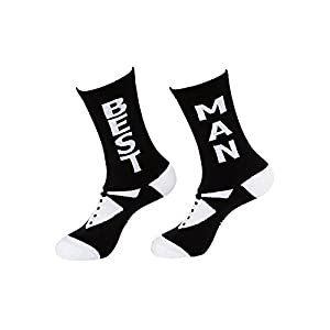 Best Man Unisex Dress Socks - Black and White Bridal Party Socks