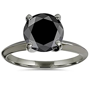 2ct Black Spinel Solitaire AAA Round Engagement Ring 14k Black Gold