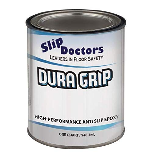 Non-Slip Textured Paint, Barefoot & Pet Friendly to Reduce Slip and Falls. Commercial & Residential Use. Dura Grip (Safety Blue, Quart)