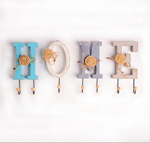Living Room Metal Coat Rack - Rustic Distressed Wooden Creative Letter HOME/LOVE Design Decorative Wall Mounted Coat Rack Hooks Clothing/Towel Hanger Garment Rack(HOME)