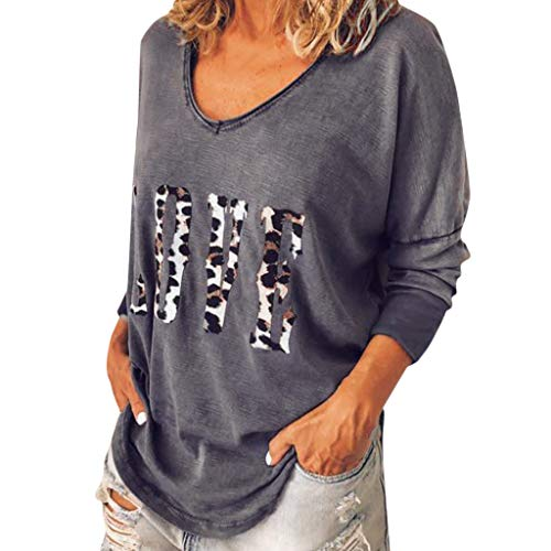 POQOQ Autumn Tee Women Long Sleeve Leopard Letter Print T-Shirt Top Casual Blouse(Gray,M)]()