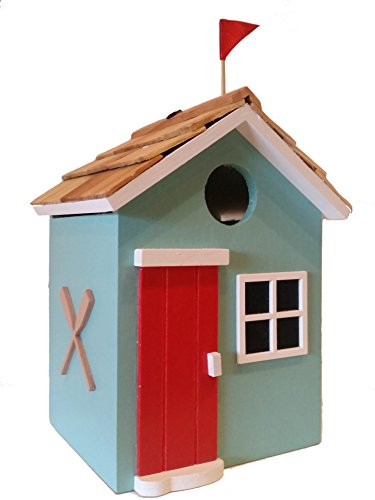 Beach Cottage Birdhouse is a Decorative Wood Birdhouse in Beautiful Teal Green with a Pine Wood Shingled Roof, Bold Red Door by The Birdhouse Hut