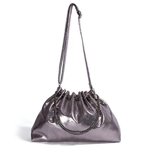 Womens Handbags Hobo Shoulder Bags Tote PU Leather Fashion Large Capacity Top Handle Satchel Chain Crossbody Bags for Ladies Girls (Metallic Grey)