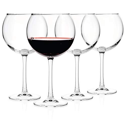 (Luxbe - Crystal Wine Balloon Glasses 20-ounce, Set of 4 - Large Handcrafted Red White Wines Glass - Lead Free Crystal Glass - Professional Wine Tasting - Burgundy - Pinot Noir - Bordeaux - 600ml )