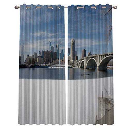 Prime Leader Curtains for Living Room- Winter Snow Scene in Minneapolis City Darkening Thermal Insulated Window Treatment Curtains, with Grommet Home Decor (2 Panels, 52 x 96 Inch Each Panel) -