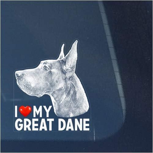 I Love My Great Dane Clear Vinyl Decal Sticker for Window Dog Sign Art Print Design