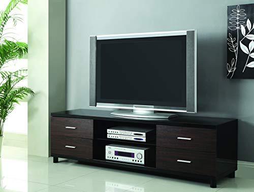 Coaster Home Furnishings 4-Drawer TV Console Glossy Black and Dark Walnut ()