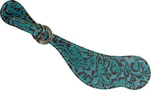Cowhide Teal Turquoise Filigree Print Spur Straps Ladies Youth Size