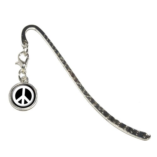 - Graphics and More Peace Sign Symbol - Black Metal Bookmark Page Marker with Charm (Charm_Book_0022)