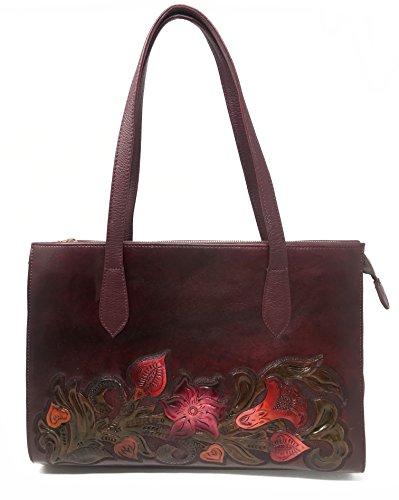 Savannah Vintage Floral Artisan Leather Handmade Shoulder Handbag Designer Gift for Women (Burgundy)