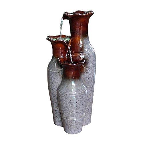 Hampton Bay Villa Ceramic Jars Cascading Garden Fountain with Adjustable Pump
