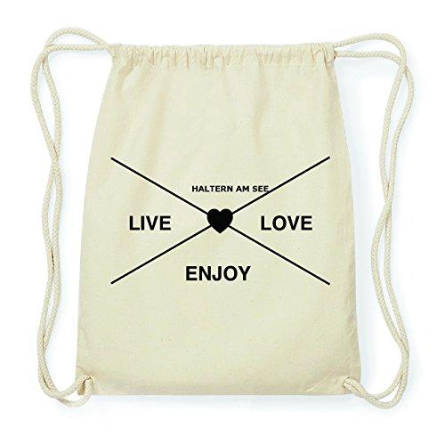 JOllify HALTERN AM SEE Hipster Turnbeutel Tasche Rucksack aus Baumwolle - Farbe: natur Design: Hipster Kreuz