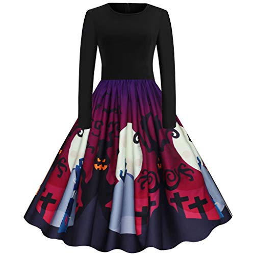 Goddessvan Women Vintage Long Sleeve Pleated Halloween Costume 50s Housewife Evening Party Prom Dress Black