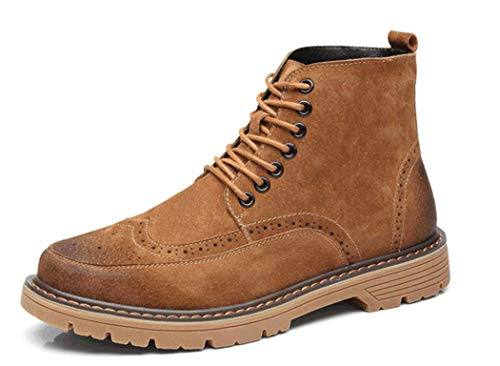 Autunno Intagliato Di Toe 38EU Martin Mens Brock Yellow Casual Stivali Pelle Lace Up Stivali wzEn0