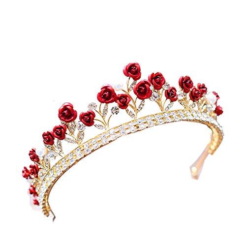 (Crystal Red Rose Wedding Prom Crown Rhinestone Hair Jewelry Headband Bridal Veil Tiara)