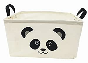 "Songsongstore Square Natural Linen & Cotton Fabric Storage Bin Shelves Storage Basket with Handles-for organizing Baby Toys Bins,Kids Toys,Baby Clothing,Children Books, Gift Baskets(15×10×9"")(PANDA)"