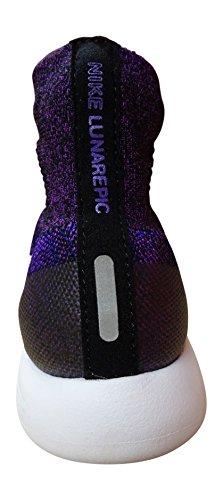 Nike Womens Lunarepic Flyknit Scarpa Da Corsa High-top Nero Bianco Vivis Viola Accordo 005