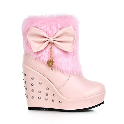 Agodor Womens Sweet Bowtie Boots Wedges Heels Faux Fur Platform With Rivet Round Toe High Heels Shoes Pink GrbR5o7kR