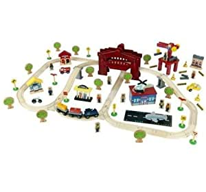 Circo 120 Piece Deluxe Wooden Railway Train Set with Drawbridge By Kidkraft