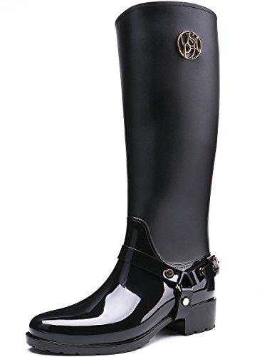 Klassiker Regenstiefel für Gummistiefel 2 kniehohe Wasserdichte Black Damen TONGPU zRUqSwU