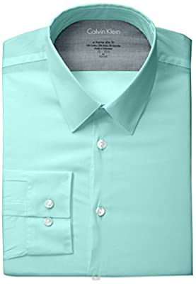 Calvin Klein Men's Stretch Xtreme Slim Fit Solid Point Collar Dress Shirt