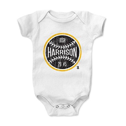 (500 LEVEL Josh Harrison Baby Clothes, Onesie, Creeper, Bodysuit 3-6 Months White - Pittsburgh Baseball Baby Clothes - Josh Harrison Ball K)