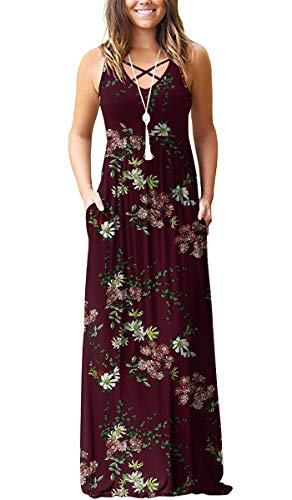 LILBETTER Women's Casual Loose Long Dress Sleeveless Floral Print Maxi Dresses with Pockets(Flower Wine Red,XXL)