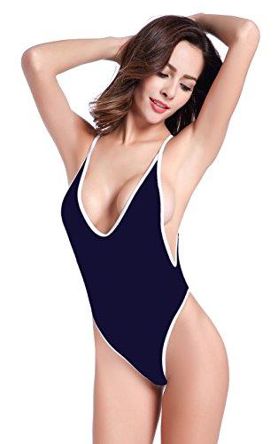 SHEKINI Donne Halter sexy di un pezzo Backless costumi da bagno Perizoma costume da bagno bikini Profondo Blu