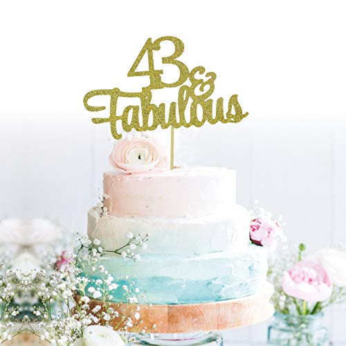 GrantParty Glitter Gold 43&Fabulous Anniversary Cake Topper We Still Do 43rd Vow Renewal Wedding Anniversary Cake Topper(43 Gold)