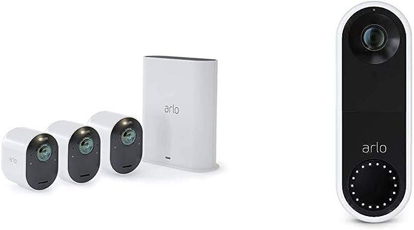 Arlo Ultra Smart Home Überwachungskamera 3er Set Und Kabelgebundene Video Doorbell Bundle Weiß Baumarkt