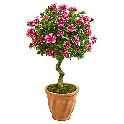 Nearly Natural 9295 39-in. Azalea Artificial Topiary Terra Cotta Planter Silk Trees Pink [並行輸入品] B07QVFYBCP