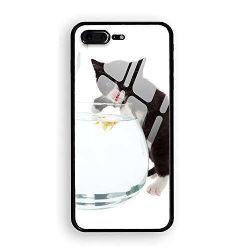 iPhone 8 Plus Case,Cat Tongue Fish Aquarium White Tempered Glass Back Cover + Soft Silicone Bumper Compatible iPhone 8 Plus