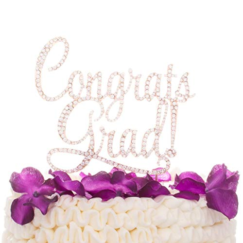 Ella Celebration Congrats Grad Graduation Cake Topper, New Graduate Party Supplies (Rose Gold) ()