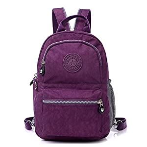 KARRESLY Mini Travel Waterproof Daypack Nylon Cute Junior School Backpack(Purple)