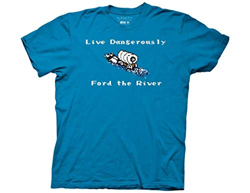 Ripple Junction Oregon Trail Adult Unisex Live Dangerously Ford River Light Weight 100% Cotton Crew T-Shirt 2XL Turquoise
