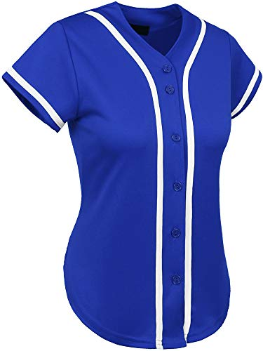 (Hat and Beyond Womens Baseball Button Down Athletic Tee Short Sleeve Softball Jersey Active Plain Sport T Shirt (X-Large, 3up01 Royal Blue/White))
