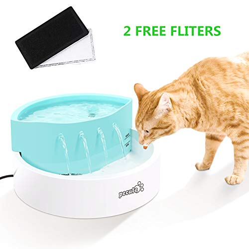 Cat Water Fountain pecute 45 dB Ultra-Quiet Automatic Circulation USB Electric Water Feeder 1.6L with 2 Filters, Great for Cats, Small Dogs Drinking Indoor Outdoor Use