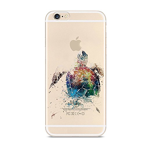 iPhone 6 Plus 6S Plus Case,Cute Animal Pattern Printed Soft TPU Silicone Protective Skin Ultra Slim & Clear with Unique Painted Design Color Printing Gift Cover for 6/6s Plus ,sea - Print Shell Tortoise
