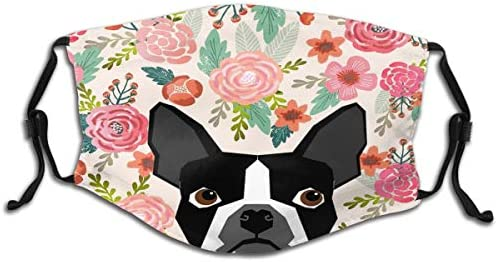 Breathable Kids Face Protector With Filter Pocket Reusable Adjustable For Outdoor Activities Boston Terrier Flower Floral