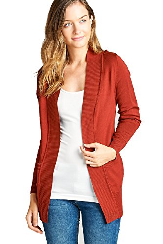 YourStyle Women Open Front Long Sleeve Classic Knit Cardigan (Medium, Deep Rust)