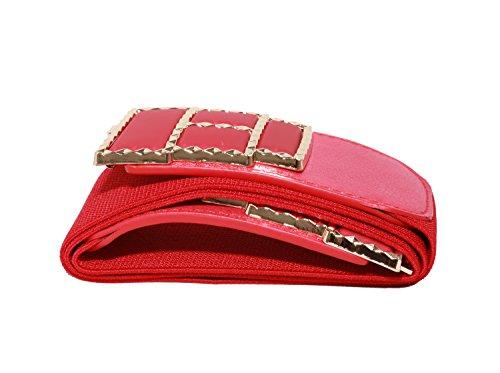 "Modeway Womens 2.5"" Wide Leather Golden Buckle Waist Belts(L-XL,Red)AX01-2"
