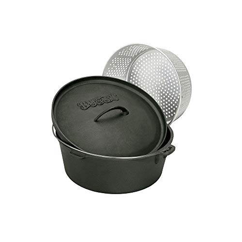 Bayou Classic 7420 20-Quart Cast Iron Dutch Oven with Dutch Oven Lid and Perforated Aluminum Basket ()