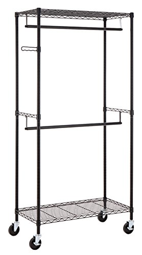 'Finnhomy Heavy Duty Rolling Garment Rack Clothes Hangers with Double Rods and Shelves, Black Thicken Steel Tube' from the web at 'https://images-na.ssl-images-amazon.com/images/I/41O-amMrZCL.jpg'
