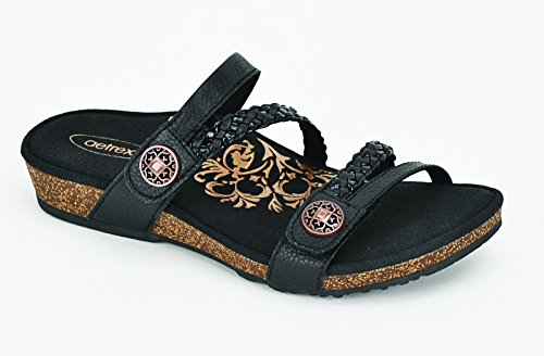 Janey Braided Slide - Shoes Black Aetrex